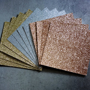 "GLITTER CARD 6"" x 6"" CHRISTMAS ROSE GOLD SILVER GOLD 210 GSM 12 SHEETS"
