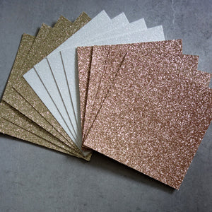 "GLITTER CARD 6"" x 6"" CHRISTMAS ROSE GOLD WHITE GOLD 210 GSM 12 SHEETS"