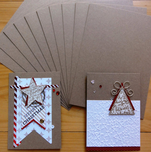 "CARD 6""x6"" BUFFALO BOARD RECYCLED KRAFT 283 GSM 20 SHEETS CARDMAKING"