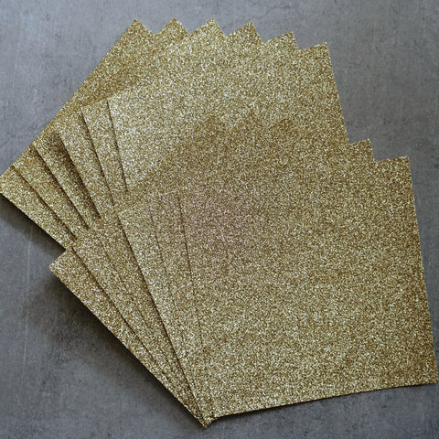 "GLITTER CARD 6"" x 6"" CHRISTMAS LIGHT GOLD 210 GSM 12 SHEETS WEDDING BIRTHDAY CARDMAKING"
