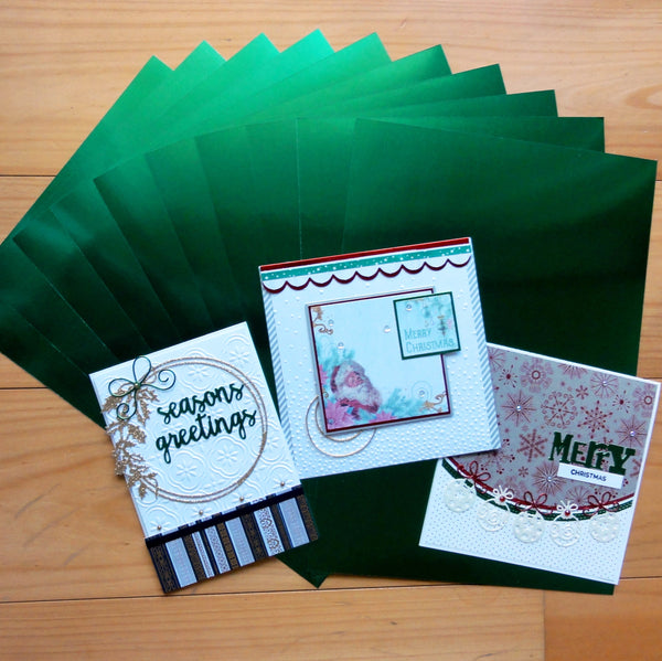 FOIL MIRROR CARD A4 GREEN 275 GSM 10 SHEETS CHRISTMAS BIRTHDAY CELEBRATION CARDMAKING