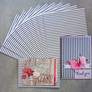 CARD A5 GREY AND WHITE STRIPE STRIPES SMOOTH FINISH 230 GSM 10 SHEETS