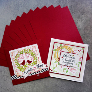 CARD A5 RICH RED METALLIC SHIMMER CARD CHRISTMAS 250 GSM 10 SHEETS CARDMAKING