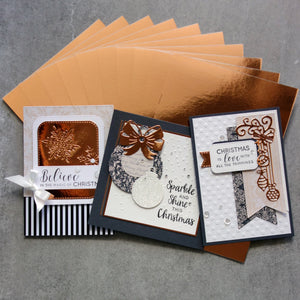 FOIL MIRROR CARD A4 ROSE GOLD 320 GSM 10 SHEETS CHRISTMAS BIRTHDAY WEDDING CARDMAKING