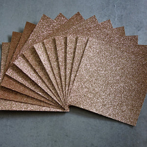 "GLITTER CARD 6"" x 6"" CHRISTMAS ROSE GOLD 210 GSM 12 SHEETS"