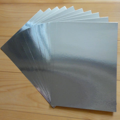 FOIL MIRROR CARD A5 SILVER 275 GSM 10 SHEETS CHRISTMAS BIRTHDAY WEDDING CARDMAKING