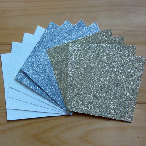 "GLITTER CARD 6"" x 6"" CHRISTMAS WHITE GOLD SILVER 210 GSM 12 SHEETS"