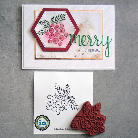 IMPRESSION OBSESSION BERRY CLUSTER CHRISTMAS CLING STAMP D6597 CARDMAKING
