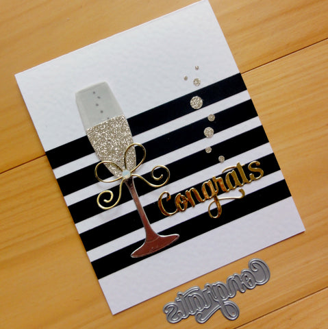 IMPRESSION OBSESSION CONGRATS BIRTHDAY WEDDING CELEBRATION CUTTING DIE