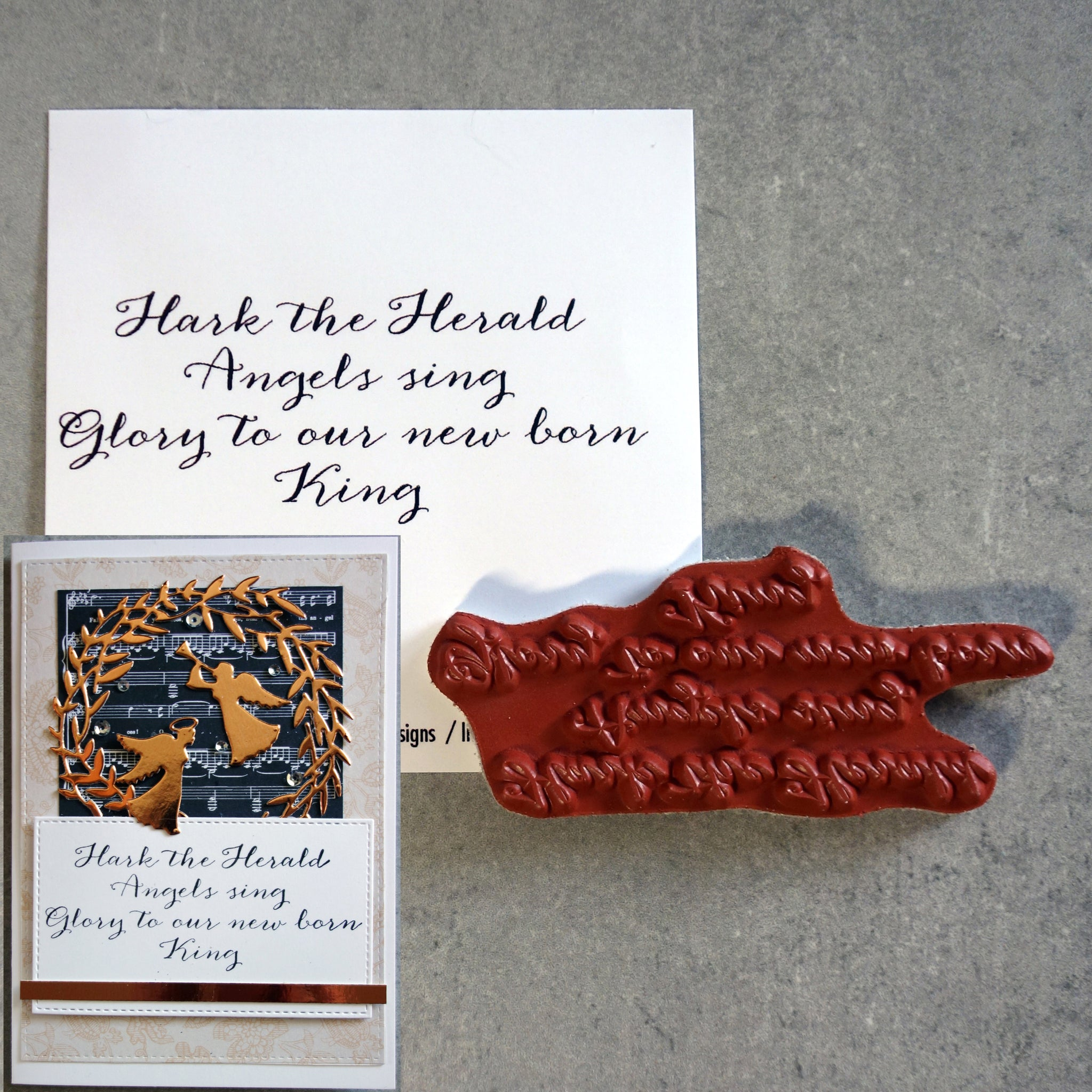 "IMPRESSION OBSESSION ""HARK THE HERALD ANGELS SING"" CHRISTMAS SENTIMENT CLING STAMP D9090 CARDMAKING"