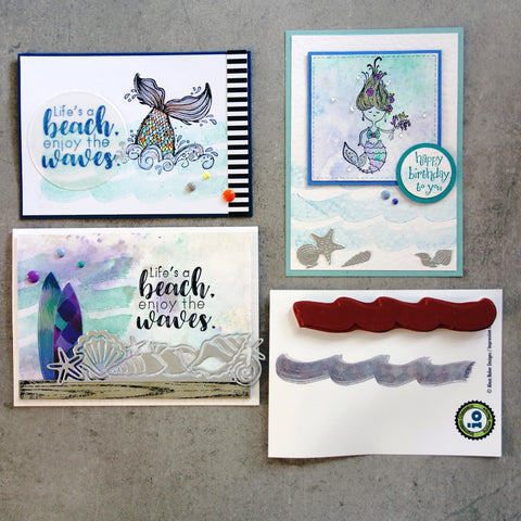 IMPRESSION OBSESSION MAKING WAVES E20503 WAVE BEACH OCEAN BIRTHDAY CELEBRATION CLING STAMP CARDMAKING