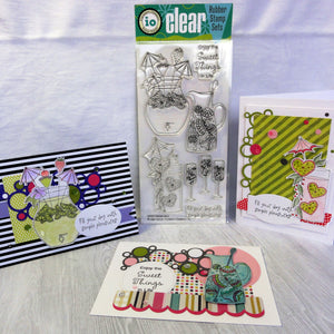 IMPRESSION OBSESSION REFRESHMENTS FRIEND BIRTHDAY CLEAR STAMPS 8 PCS COLOURING