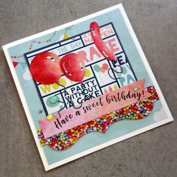 "IMPRESSION OBSESSION ""Have a sweet birthday!"" D7937 BIRTHDAY CELEBRATION SENTIMENT CLING STAMP CARDMAKING"