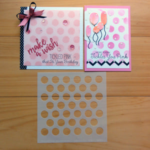 "PRELOVED MY FAVORITE THINGS MIX-ABLES STENCIL JUMBO POLKADOT 6""X6"" SQUARE TEMPLATE FOR CARDMAKING"