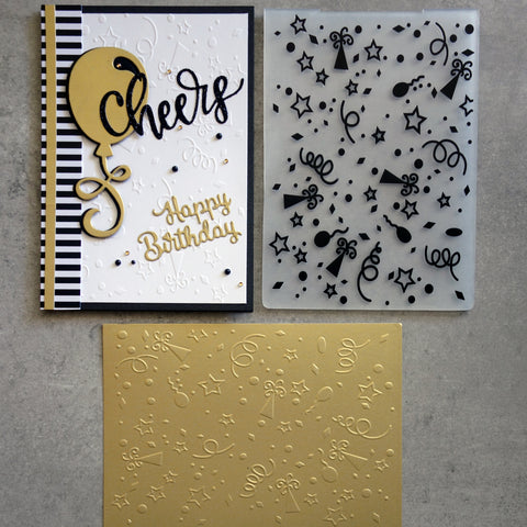 shopaperartz EMBOSSING FOLDER A2 BIRTHDAY CONFETTI CARDMAKING