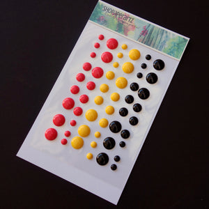 ENAMEL DOTS EMBELLISHMENTS ACCENTS CARDMAKING 54 PIECES BOLD RED BLACK YELLOW #7
