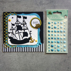 ENAMEL DOTS BLUE TEAL 3 SHADES BABY EMBELLISHMENTS ACCENTS SELF-ADHESIVE 54 PIECES CARDMAKING