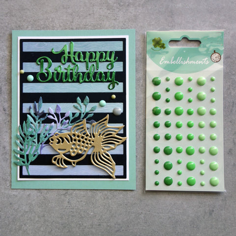 ENAMEL DOTS GREEN GREENS 3 SHADES EMBELLISHMENTS ACCENTS SELF-ADHESIVE 54 PIECES CARDMAKING