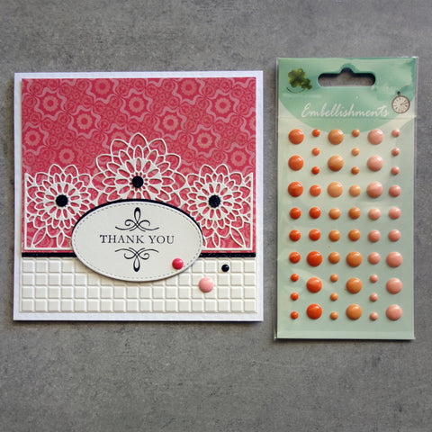 ENAMEL DOTS ORANGE APRICOT 3 SHADES EMBELLISHMENTS ACCENTS SELF-ADHESIVE 54 PIECES CARDMAKING