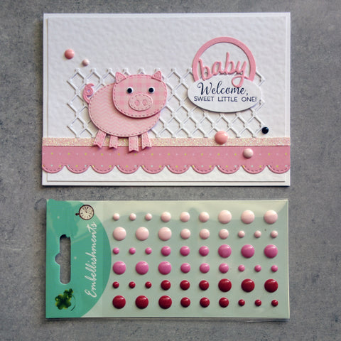 ENAMEL DOTS PINK CRIMSON RED 3 SHADES EMBELLISHMENTS ACCENTS SELF-ADHESIVE 54 PIECES CARDMAKING