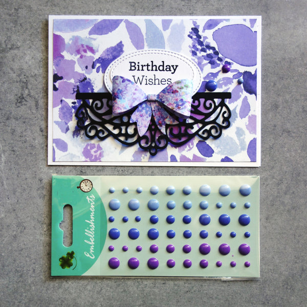 ENAMEL DOTS PURPLE LILAC 3 SHADES EMBELLISHMENTS ACCENTS SELF-ADHESIVE 54 PIECES CARDMAKING