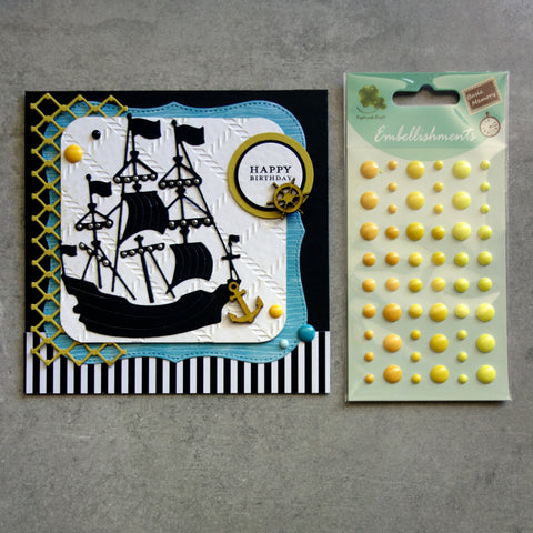ENAMEL DOTS YELLOW LEMON 3 SHADES EMBELLISHMENTS ACCENTS SELF-ADHESIVE 54 PIECES CARDMAKING