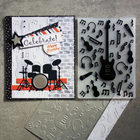 shopaperartz EMBOSSING FOLDER A2 GUITAR MUSIC MUSICAL MALE BIRTHDAY CELEBRATION CARDMAKING