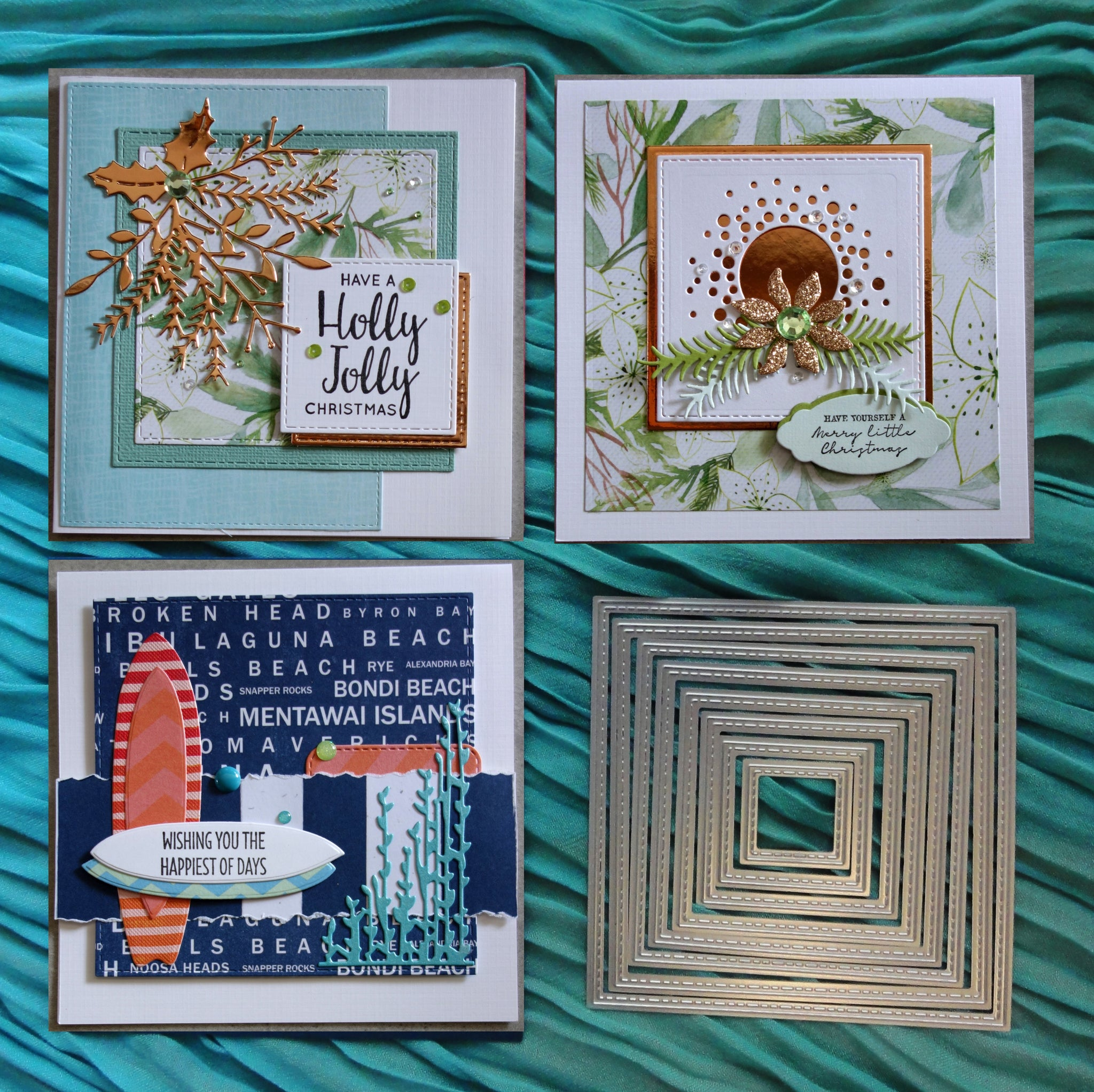 shopaperartz STITCHED NESTED SQUARES CHRISTMAS BIRTHDAY 8 PCE CUTTING DIES FITS SIZZIX CUTTLEBUG