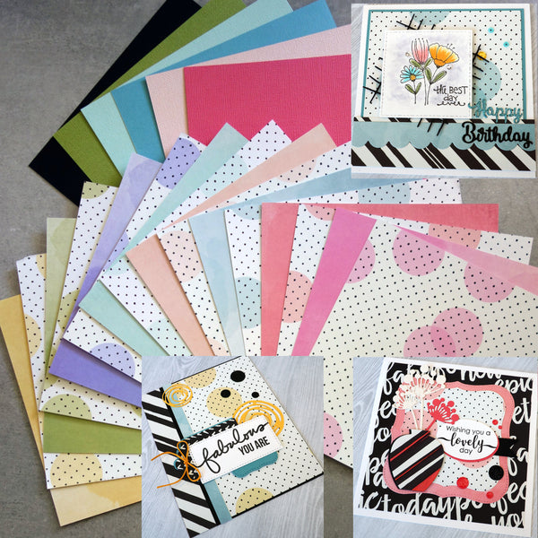 "SIMPLE STORIES ""HIGH STYLE"" 6""x6"" CARD PAPER PACK POLKADOT WATERCOLOUR 22 SHTS CARDMAKING"