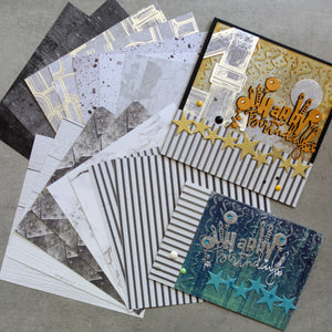 KAISERCRAFT BASECOAT IV #1 PAPER PACK GRUNGE GRITTY WOODGRAIN NEUTRALS 6x6 16 SHTS MALE CARDMAKING