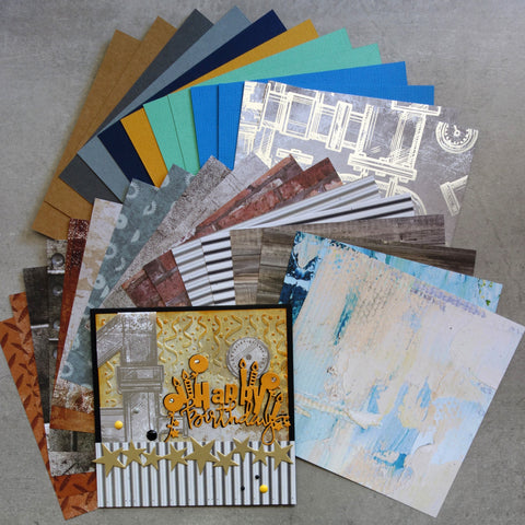 KAISERCRAFT BASECOAT IV #4 CARD & PAPER PACK BRICKS BOLTS GRUNGE WOODGRAIN MALE 6x6 PAPER PACK 30 SHTS CARDMAKING