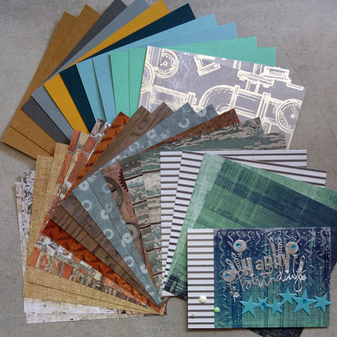 KAISERCRAFT BASECOAT IV #3 CARD PAPER PACK COGS GEARS GRUNGE WOODGRAIN MALE 6x6 30 SHEETS CARDMAKING