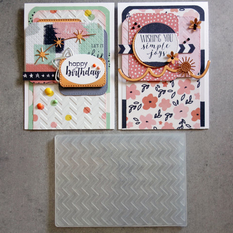 KAISERCRAFT EMBOSSING FOLDER A2 CHEVRON STRIPES BIRTHDAY CELEBRATION MALE CARDMAKING