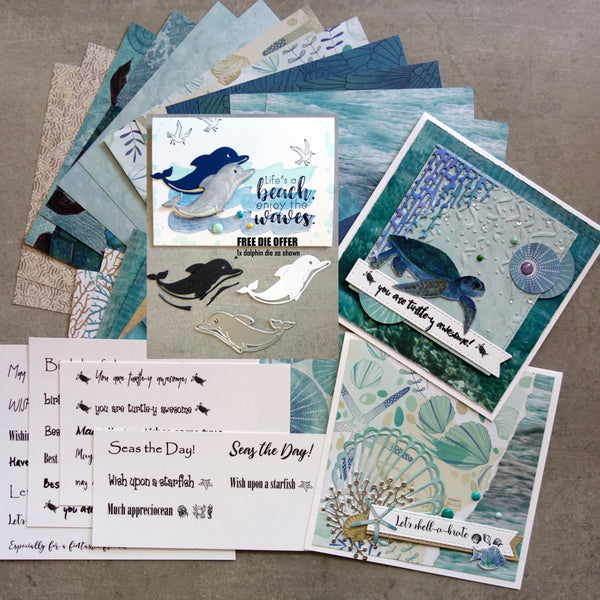 FREE DOLPHIN DIE: KAISERCRAFT DEEP SEA BEACH OCEAN NAUTICAL COASTAL 6x6 DESIGNER PAPER PACK 24 SHEETS CARDMAKING