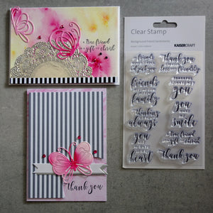 KAISERCRAFT FRIEND SENTIMENTS MIX & MATCH CLEAR ACRYLIC STAMP SET CS294 9 PIECES CARDMAKING