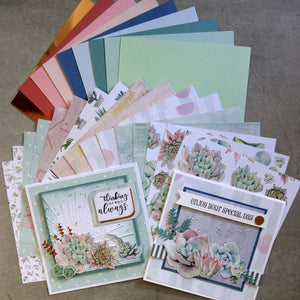 KAISERCRAFT GREENHOUSE SUCCULENT BOTANICAL 6x6 CARD PAPER PACK 26 SHEETS CARDMAKING