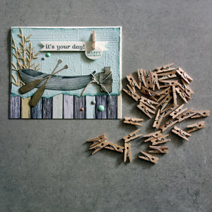 "KAISERCRAFT MINI PEGS 50 NATURAL WOOD 2.5CM 1"" LONG EMBELLISHMENTS ACCENTS CARDMAKING"