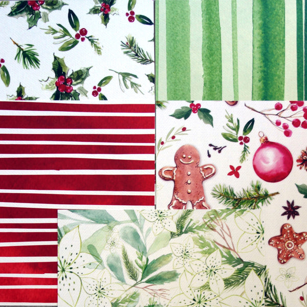 KAISERCRAFT CHRISTMAS PEACE & JOY A6 25 SHEETS CARD PAPER PACK RED WHITE GREEN CARDMAKING