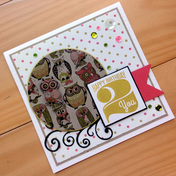 CARD PAPER A5 PACK OWLS N LIME DESIGNER CARDMAKING 20 SHEETS