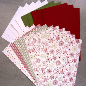 "CARD PAPER A5 PACK ""SNOW FESTIVE"" CHRISTMAS DESIGNER CARDMAKING 20 SHEETS"