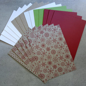 "CARD PAPER A5 PACK #2 ""SNOW KRAFT"" RED WHITE GREEN CHRISTMAS CARDMAKING 20 SHEETS"