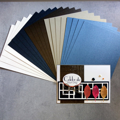 CARD A5 MIXED METALLIC SHIMMER CARD 5 NEUTRAL COLOURS MALE 250 GSM 20 SHEETS CARDMAKING
