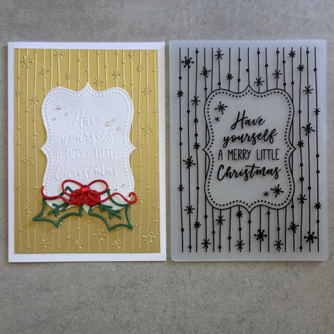 shopaperartz EMBOSSING FOLDER LARGE 5X7 MERRY LITTLE CHRISTMAS SENTIMENTS MESSAGES STARS CARDMAKING