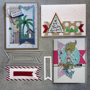 shopaperartz STITCHED FISHTAIL TAGS FLAGS BANNERS 4 PIECE CHRISTMAS BIRTHDAY CUTTING DIES FITS SIZZIX CUTTLEBUG
