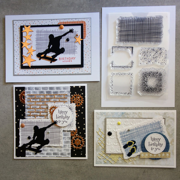 shopaperartz GRUNGE GRITTY SPECKLE GRID HESSIAN ACCENTS CLEAR STAMP SET SILICONE 6 PIECES BIRTHDAY MALE CARDMAKING