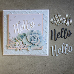 "shopaperartz ""Hello"" SENTIMENT BIRTHDAY CELEBRATION CUTTING DIE CARDMAKING"