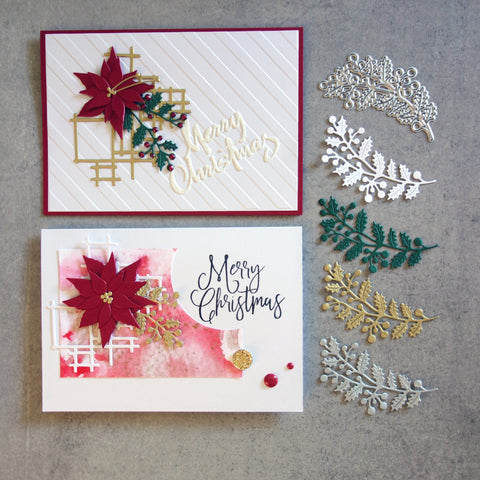 shopaperartz HOLLY AND BERRIES BRANCH CHRISTMAS BOTANICAL CUTTING DIE CARDMAKING
