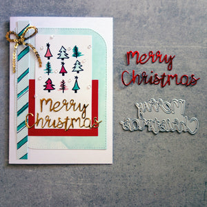 "shopaperartz ""Merry Christmas"" SENTIMENT CUTTING DIE CARDMAKING"