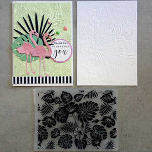 shopaperartz EMBOSSING FOLDER A2 TROPICAL GREENERY MONSTERA LEAVES FLAMINGO BOTANICAL BIRTHDAY CARDMAKING