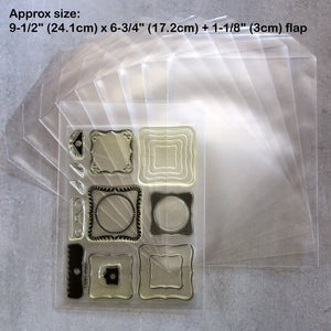 "*NEW* 50 x XL STAMP DIE STORAGE POCKETS 9-1/2"" x 6-3/4"" FITS 8"" X 6"" STAMP SETS 100 MICRON - EXTRA LARGE"